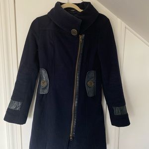 Mackage navy coat with leather detail